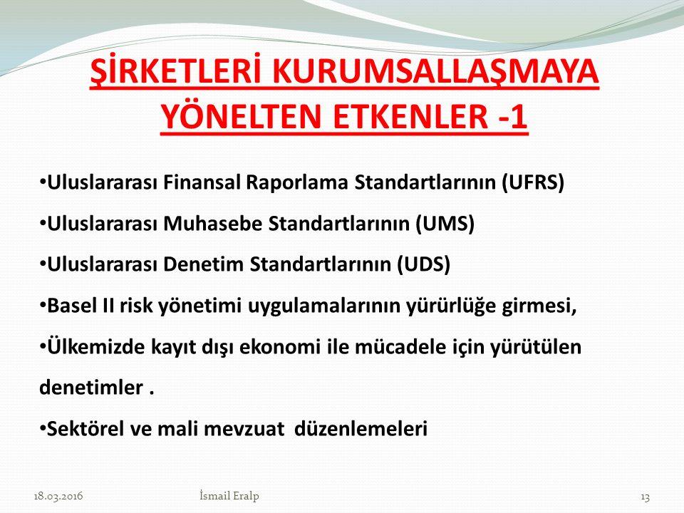 ŞİRKETLERİ KURUMSALLAŞMAYA YÖNELTEN ETKENLER -1 Uluslararası Finansal Raporlama Standartlarının (UFRS) Uluslararası Muhasebe Standartlarının (UMS) Ulu