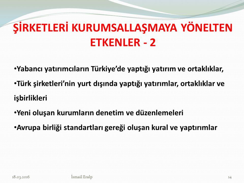 ŞİRKETLERİ KURUMSALLAŞMAYA YÖNELTEN ETKENLER - 2 Yabancı yatırımcıların Türkiye'de yaptığı yatırım ve ortaklıklar, Türk şirketleri'nin yurt dışında ya