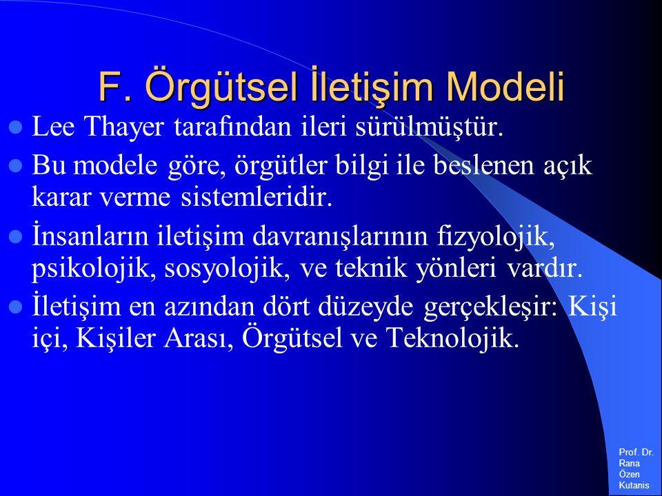 Prof. Dr. Rana Özen Kutanis F. Örgütsel İletişim Modeli Lee Thayer tarafından ileri sürülmüştür.