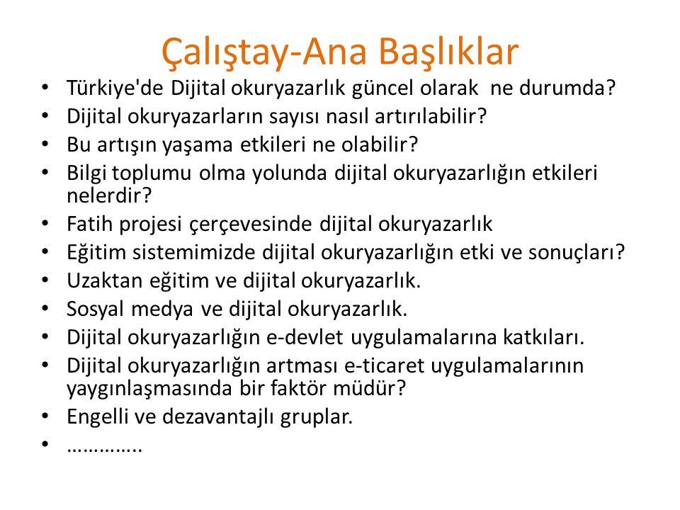 Çalıştay-Ana Başlıklar Türkiye de Dijital okuryazarlık güncel olarak ne durumda.
