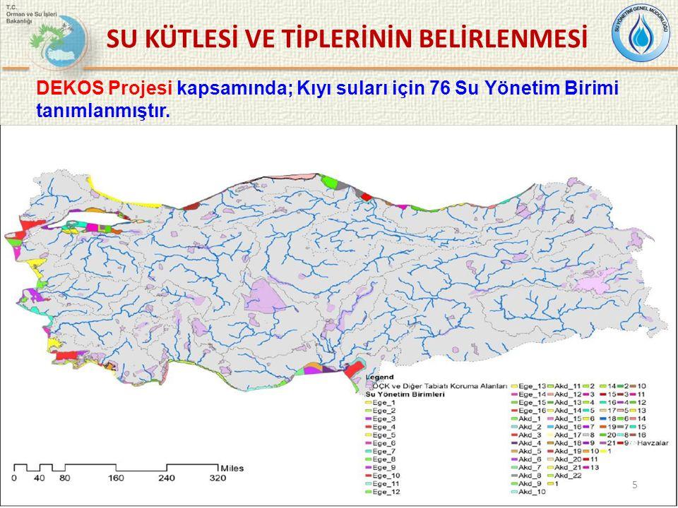 DEKOS Projesi kapsamında; Kıyı suları için 76 Su Yönetim Birimi tanımlanmıştır. SU KÜTLESİ VE TİPLERİNİN BELİRLENMESİ 5