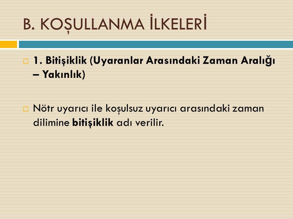 B. KOŞULLANMA İ LKELER İ  1.