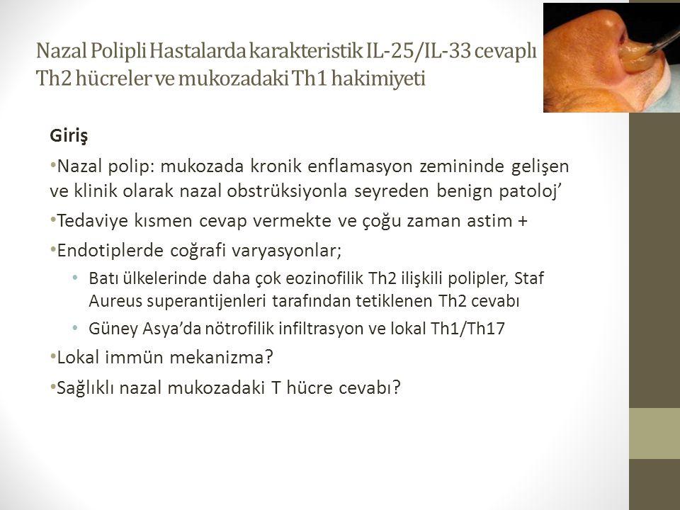 Nazal Polipli Hastalarda karakteristik IL-25/IL-33 cevaplı Th2 hücreler ve mukozadaki Th1 hakimiyeti Giriş Nazal polip: mukozada kronik enflamasyon ze