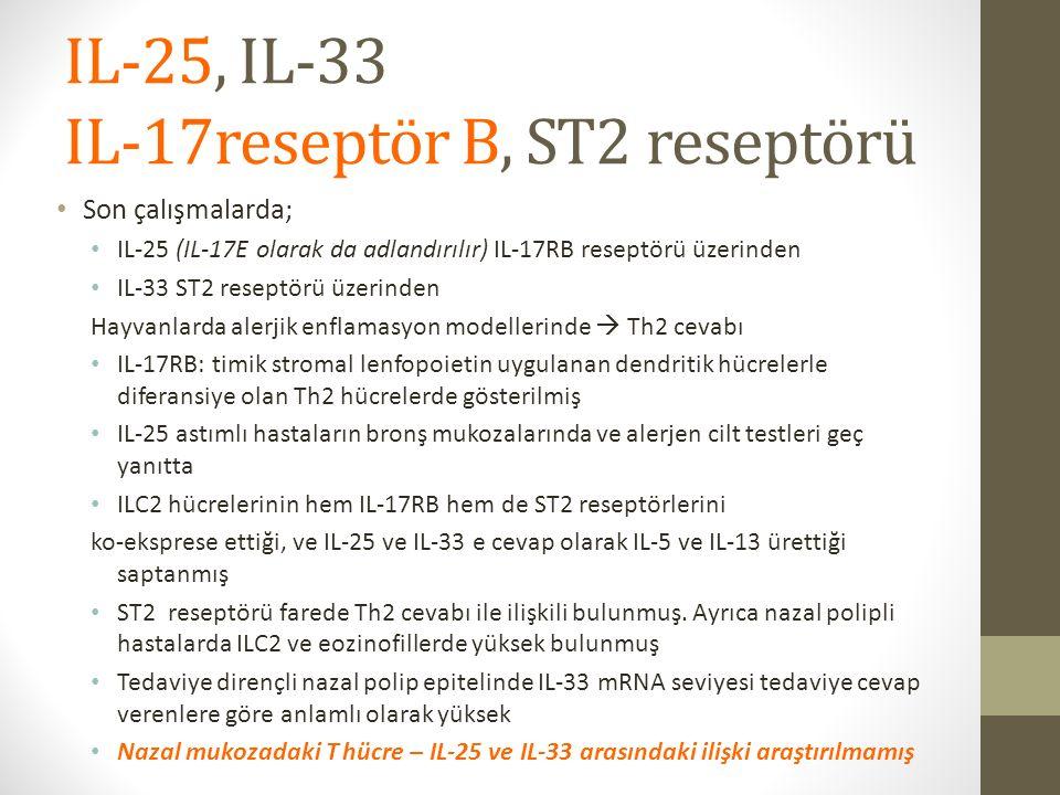 IL-25, IL-33 IL-17reseptör B, ST2 reseptörü Son çalışmalarda; IL-25 (IL-17E olarak da adlandırılır) IL-17RB reseptörü üzerinden IL-33 ST2 reseptörü üzerinden Hayvanlarda alerjik enflamasyon modellerinde  Th2 cevabı IL-17RB: timik stromal lenfopoietin uygulanan dendritik hücrelerle diferansiye olan Th2 hücrelerde gösterilmiş IL-25 astımlı hastaların bronş mukozalarında ve alerjen cilt testleri geç yanıtta ILC2 hücrelerinin hem IL-17RB hem de ST2 reseptörlerini ko-eksprese ettiği, ve IL-25 ve IL-33 e cevap olarak IL-5 ve IL-13 ürettiği saptanmış ST2 reseptörü farede Th2 cevabı ile ilişkili bulunmuş.