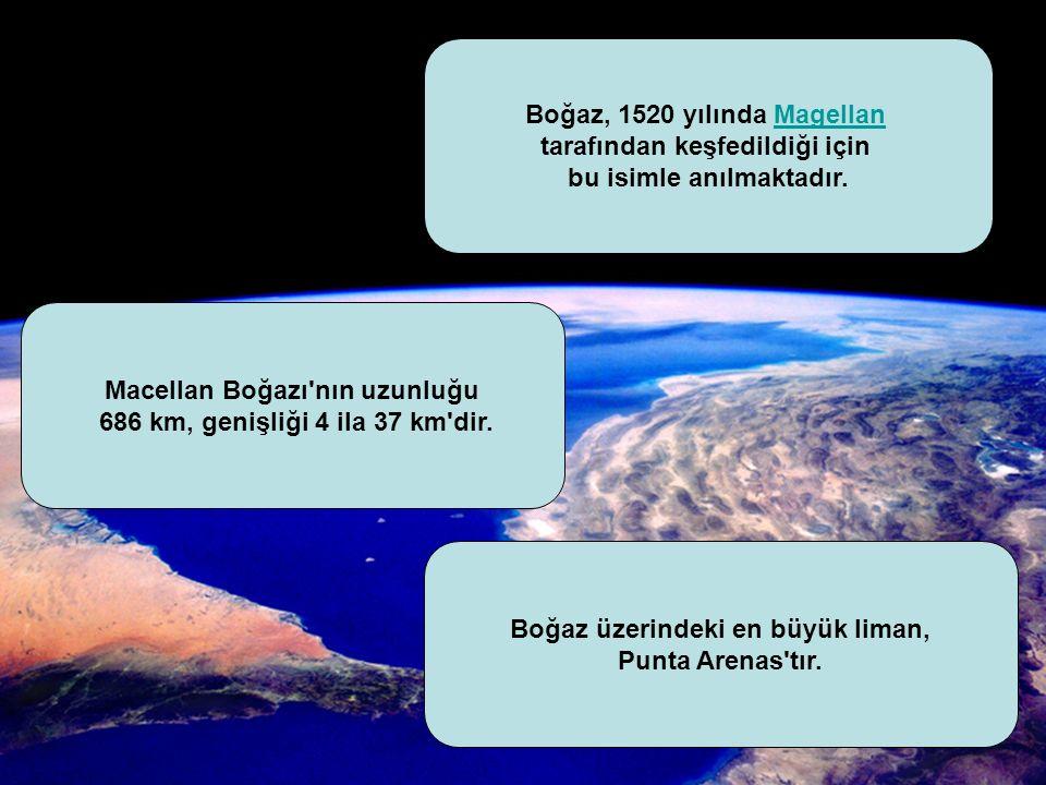 Macellan Boğazı nın uzunluğu 686 km, genişliği 4 ila 37 km dir.