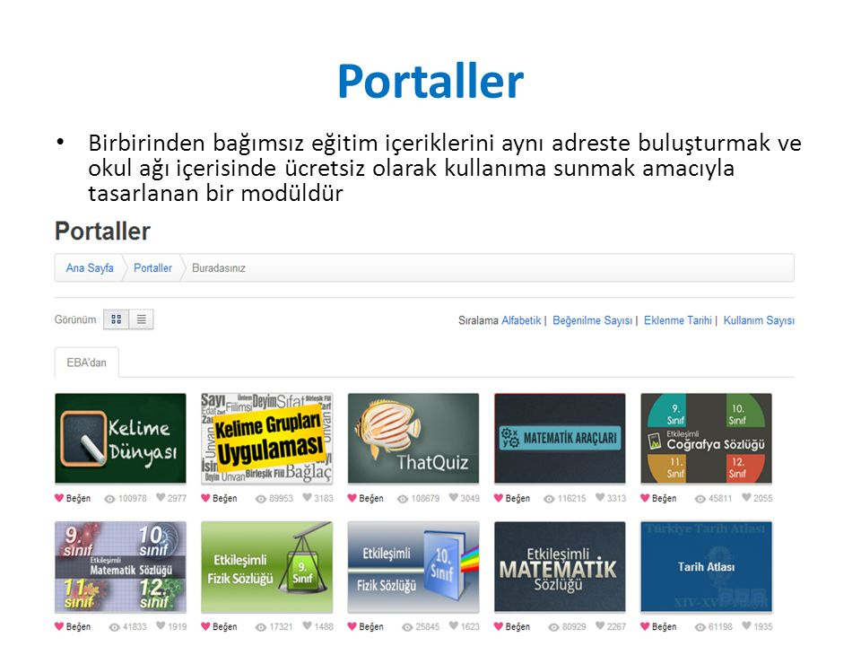 Portaller Birbirinden bağımsız eğitim içeriklerini aynı adreste buluşturmak ve okul ağı içerisinde ücretsiz olarak kullanıma sunmak amacıyla tasarlanan bir modüldür