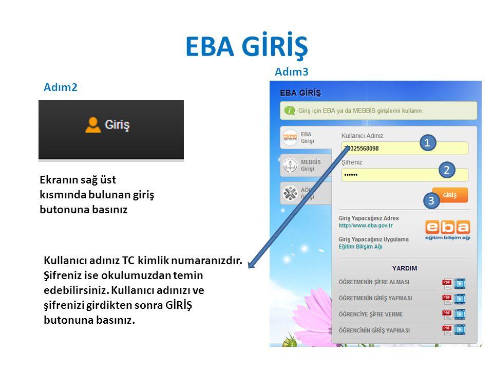 EBA GİRİŞ Sayfanın sağ üst köşesindeki Giriş butonunun yerinde ad ve soyadımızın görünüyor olması EBA'ya başarıyla giriş yaptığımızı gösterir.