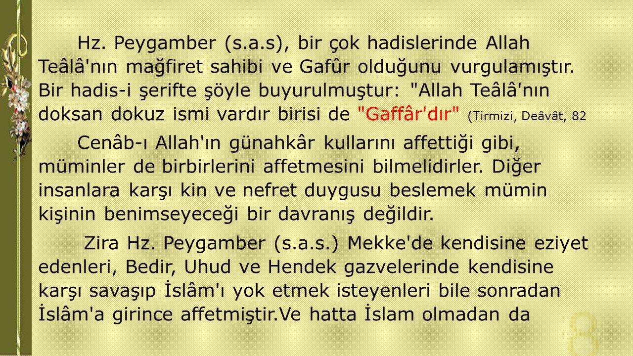 Hz. Peygamber (s.a.s), bir çok hadislerinde Allah Teâlâ'nın mağfiret sahibi ve Gafûr olduğunu vurgulamıştır. Bir hadis-i şerifte şöyle buyurulmuştur: