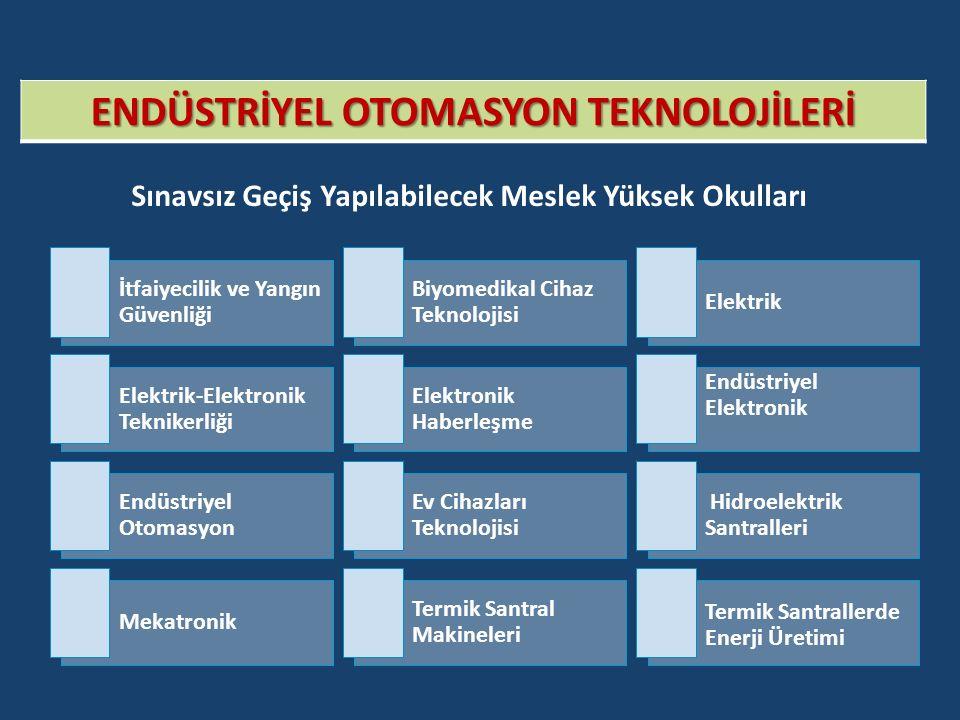 ENDÜSTRİYEL OTOMASYON TEKNOLOJİLERİ Sınavsız Geçiş Yapılabilecek Meslek Yüksek Okulları İtfaiyecilik ve Yangın Güvenliği Biyomedikal Cihaz Teknolojisi Elektrik Elektrik-Elektronik Teknikerliği Elektronik Haberleşme Endüstriyel Elektronik Endüstriyel Otomasyon Ev Cihazları Teknolojisi Hidroelektrik Santralleri Mekatronik Termik Santral Makineleri Termik Santrallerde Enerji Üretimi
