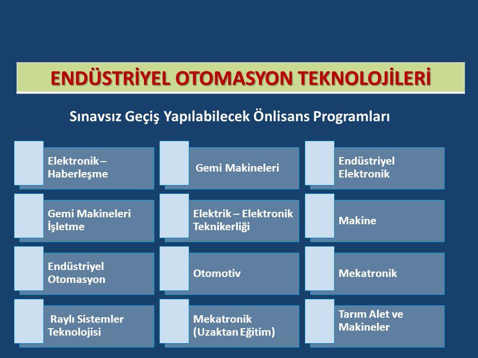 ENDÜSTRİYEL OTOMASYON TEKNOLOJİLERİ Sınavsız Geçiş Yapılabilecek Önlisans Programları Elektronik – Haberleşme Gemi Makineleri Endüstriyel Elektronik Gemi Makineleri İşletme Elektrik – Elektronik Teknikerliği Makine Endüstriyel Otomasyon OtomotivMekatronik Raylı Sistemler Teknolojisi Mekatronik (Uzaktan Eğitim) Tarım Alet ve Makineler