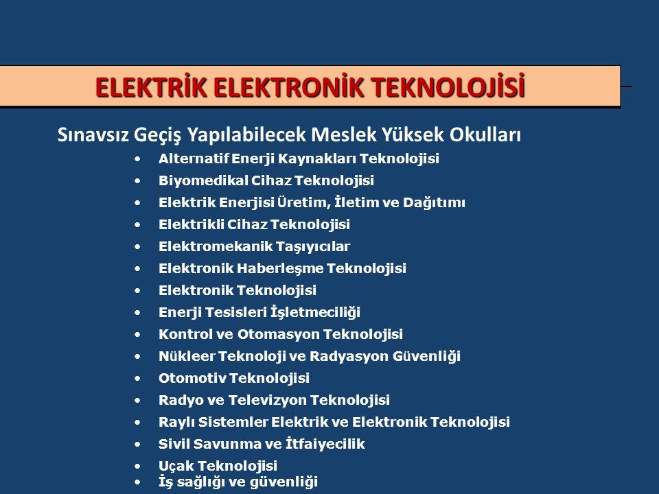 ELEKTRİK ELEKTRONİK TEKNOLOJİSİ Sınavsız Geçiş Yapılabilecek Meslek Yüksek Okulları Alternatif Enerji Kaynakları Teknolojisi Biyomedikal Cihaz Teknolojisi Elektrik Enerjisi Ü retim, İletim ve Dağıtımı Elektrikli Cihaz Teknolojisi Elektromekanik Taşıyıcılar Elektronik Haberleşme Teknolojisi Elektronik Teknolojisi Enerji Tesisleri İşletmeciliği Kontrol ve Otomasyon Teknolojisi N ü kleer Teknoloji ve Radyasyon G ü venliği Otomotiv Teknolojisi Radyo ve Televizyon Teknolojisi Raylı Sistemler Elektrik ve Elektronik Teknolojisi Sivil Savunma ve İtfaiyecilik U ç ak Teknolojisi İş sağlığı ve güvenliği