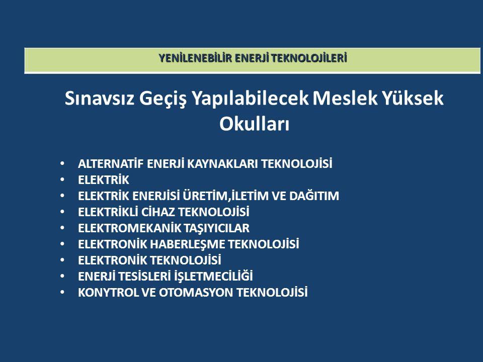 YENİLENEBİLİR ENERJİ TEKNOLOJİLERİ Sınavsız Geçiş Yapılabilecek Meslek Yüksek Okulları ALTERNATİF ENERJİ KAYNAKLARI TEKNOLOJİSİ ELEKTRİK ELEKTRİK ENER