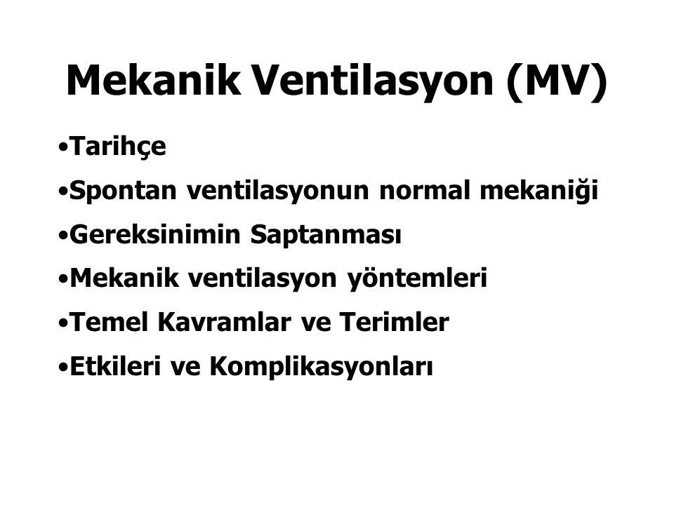 Mekanik Ventilasyon (MV) Tarihçe Spontan ventilasyonun normal mekaniği Gereksinimin Saptanması Mekanik ventilasyon yöntemleri Temel Kavramlar ve Terim