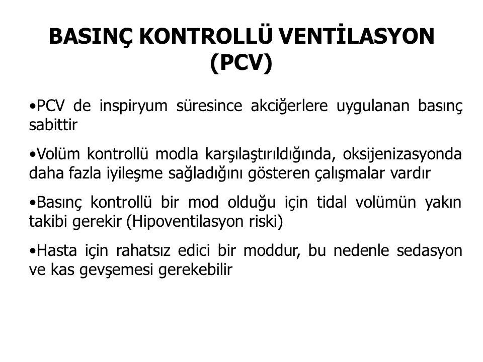 BASINÇ KONTROLLÜ VENTİLASYON (PCV) PCV de inspiryum süresince akciğerlere uygulanan basınç sabittir Volüm kontrollü modla karşılaştırıldığında, oksije