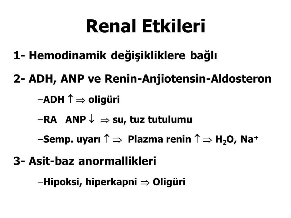 Renal Etkileri 1- Hemodinamik değişikliklere bağlı 2- ADH, ANP ve Renin-Anjiotensin-Aldosteron –ADH   oligüri –RA ANP   su, tuz tutulumu –Semp. uy