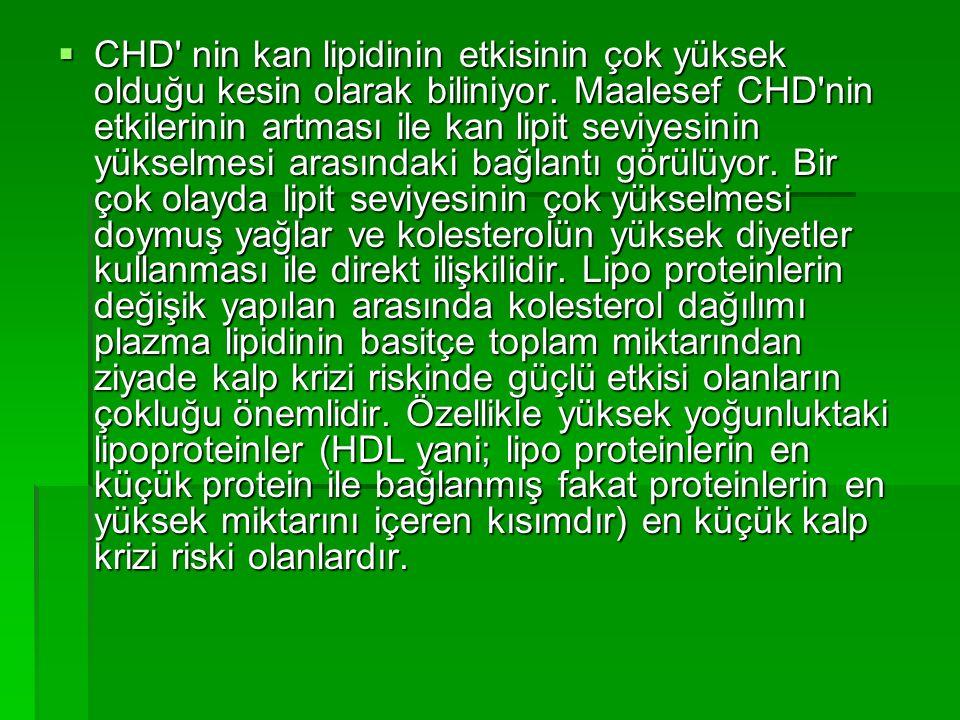  CHD' nin kan lipidinin etkisinin çok yüksek olduğu kesin olarak biliniyor. Maalesef CHD'nin etkilerinin artması ile kan lipit seviyesinin yükselmesi