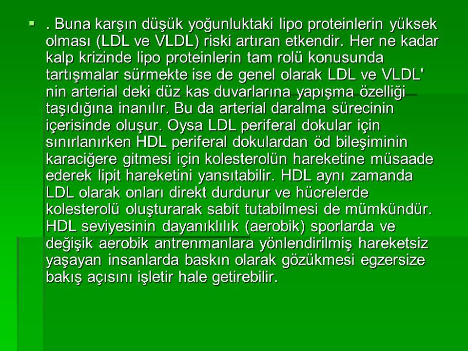. Buna karşın düşük yoğunluktaki lipo proteinlerin yüksek olması (LDL ve VLDL) riski artıran etkendir. Her ne kadar kalp krizinde lipo proteinlerin t