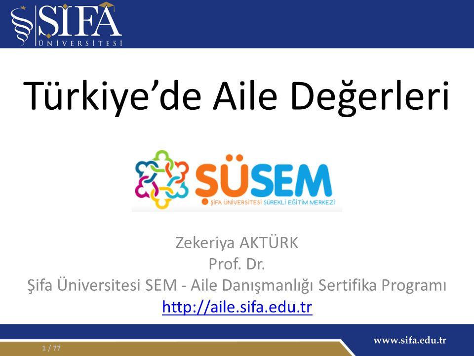 Türkiye'de Aile Değerleri Zekeriya AKTÜRK Prof. Dr.