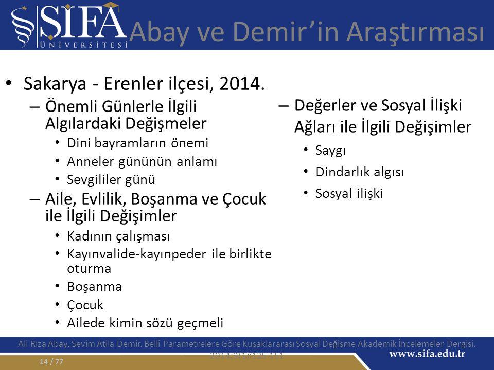 Abay ve Demir'in Araştırması Sakarya - Erenler ilçesi, 2014.