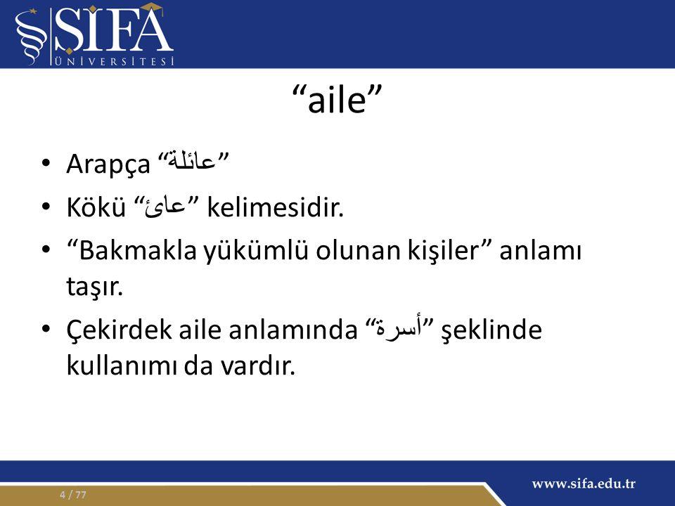 aile Arapça عائلة Kökü عائ kelimesidir. Bakmakla yükümlü olunan kişiler anlamı taşır.