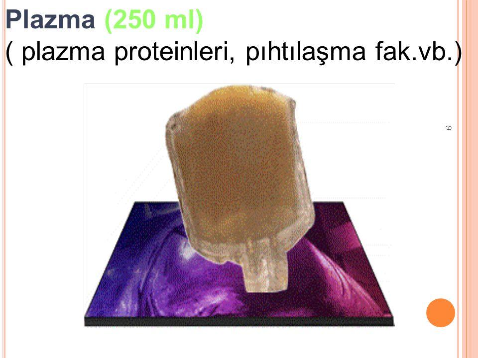 9 Plazma (250 ml) ( plazma proteinleri, pıhtılaşma fak.vb.)