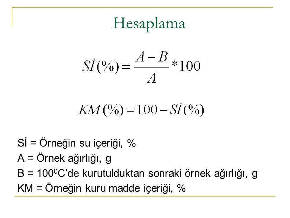 Hesaplama Sİ = Örneğin su içeriği, % A = Örnek ağırlığı, g B = 100 0 C'de kurutulduktan sonraki örnek ağırlığı, g KM = Örneğin kuru madde içeriği, %