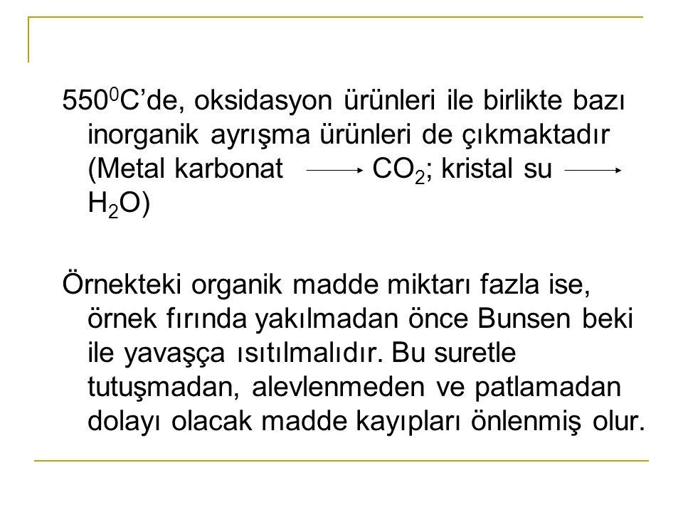 550 0 C'de, oksidasyon ürünleri ile birlikte bazı inorganik ayrışma ürünleri de çıkmaktadır (Metal karbonat CO 2 ; kristal su H 2 O) Örnekteki organik madde miktarı fazla ise, örnek fırında yakılmadan önce Bunsen beki ile yavaşça ısıtılmalıdır.