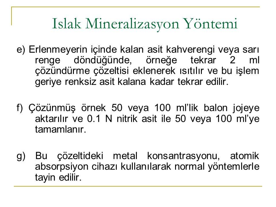 Islak Mineralizasyon Yöntemi e) Erlenmeyerin içinde kalan asit kahverengi veya sarı renge döndüğünde, örneğe tekrar 2 ml çözündürme çözeltisi eklenerek ısıtılır ve bu işlem geriye renksiz asit kalana kadar tekrar edilir.