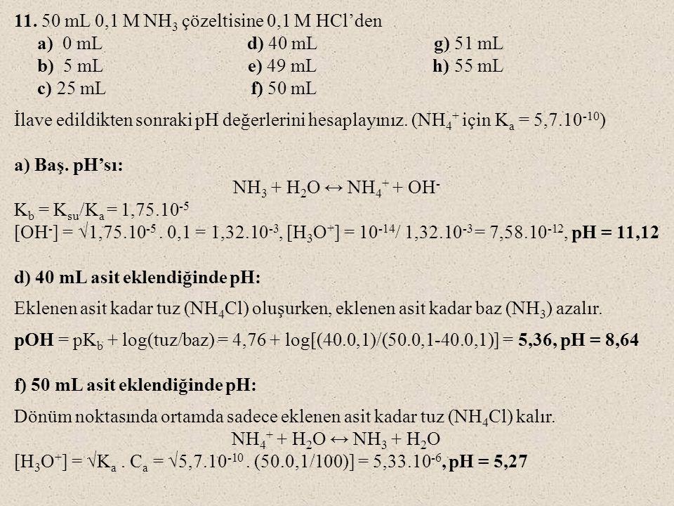 11. 50 mL 0,1 M NH 3 çözeltisine 0,1 M HCl'den a) 0 mL d) 40 mL g) 51 mL b) 5 mL e) 49 mL h) 55 mL c) 25 mL f) 50 mL İlave edildikten sonraki pH değer