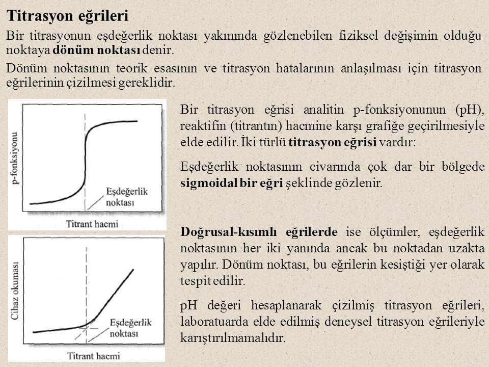 Titrasyon eğrileri Bir titrasyonun eşdeğerlik noktası yakınında gözlenebilen fiziksel değişimin olduğu noktaya dönüm noktası denir. Dönüm noktasının t