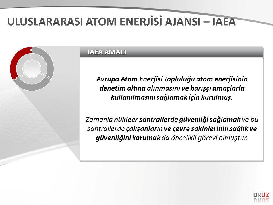 IAEA AMACI Avrupa Atom Enerjisi Topluluğu atom enerjisinin denetim altına alınmasını ve barışçı amaçlarla kullanılmasını sağlamak için kurulmuş.