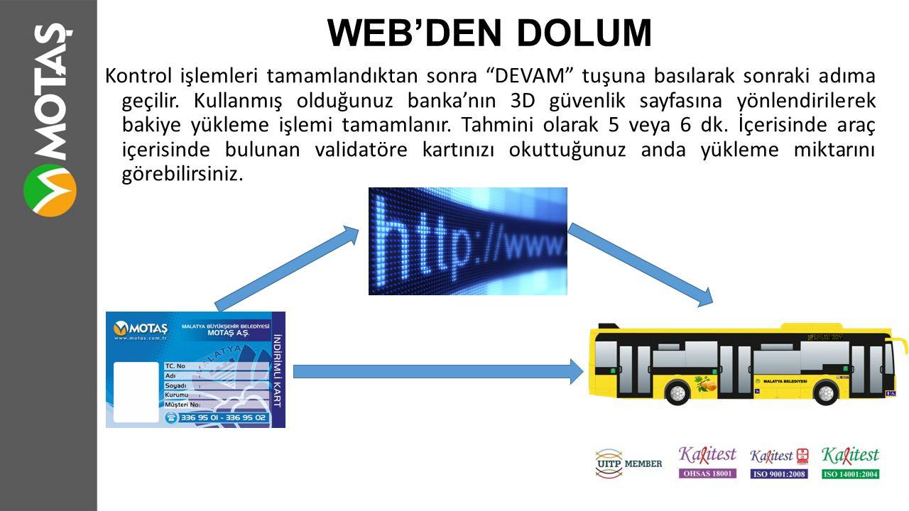 WEB'DEN DOLUM Kontrol işlemleri tamamlandıktan sonra DEVAM tuşuna basılarak sonraki adıma geçilir.