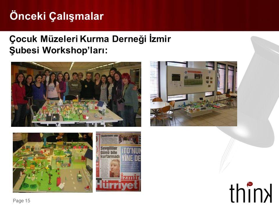 Page 15 Önceki Çalışmalar Çocuk Müzeleri Kurma Derneği İzmir Şubesi Workshop'ları:
