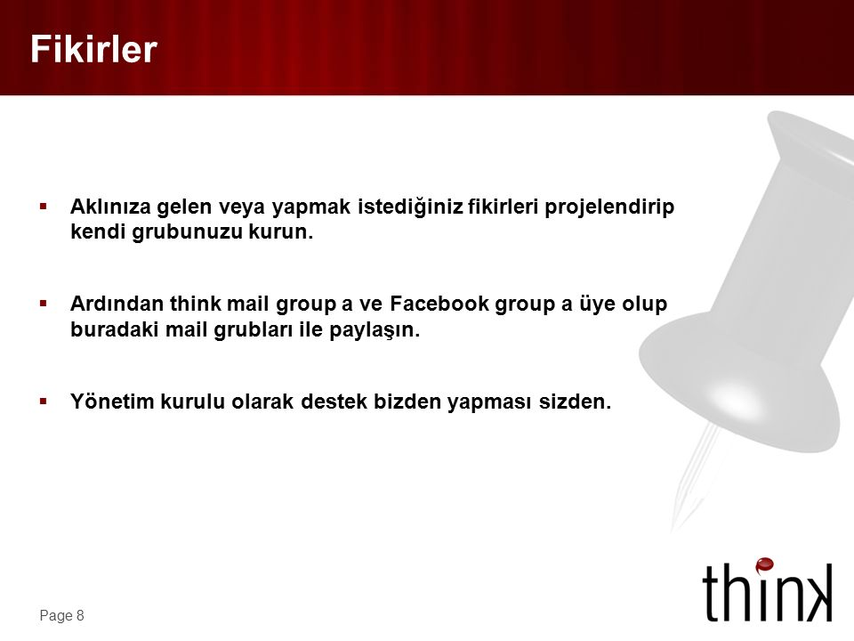 Page 9 Fikirler Alt Grup Think Proje Yönetimi