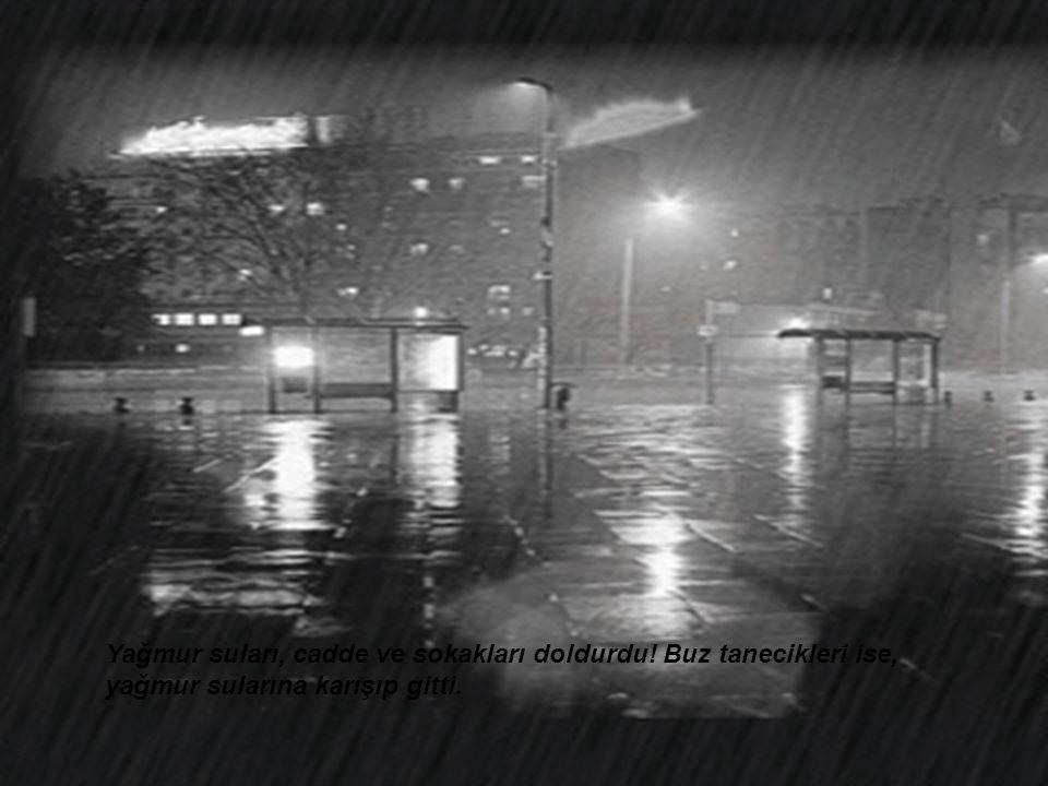 Yağmur suları, cadde ve sokakları doldurdu! Buz tanecikleri ise, yağmur sularına karışıp gitti.