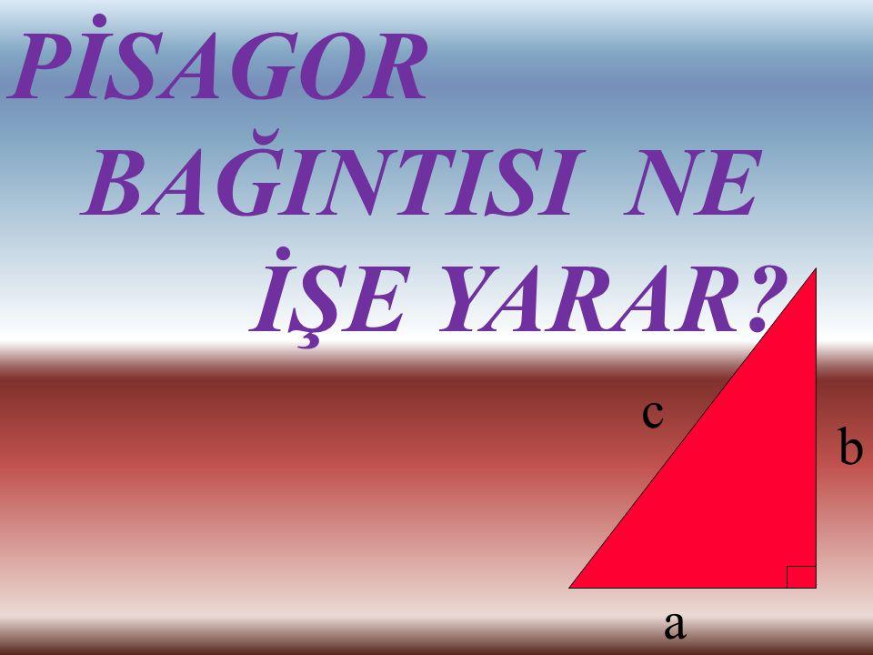 Yunanlı matematikçi Pisagor'un (Pythagoras) adıyla anılan Pisagor bağıntısında bir dik üçgende dik kenarların uzunluklarının karelerinin toplamı, hipo