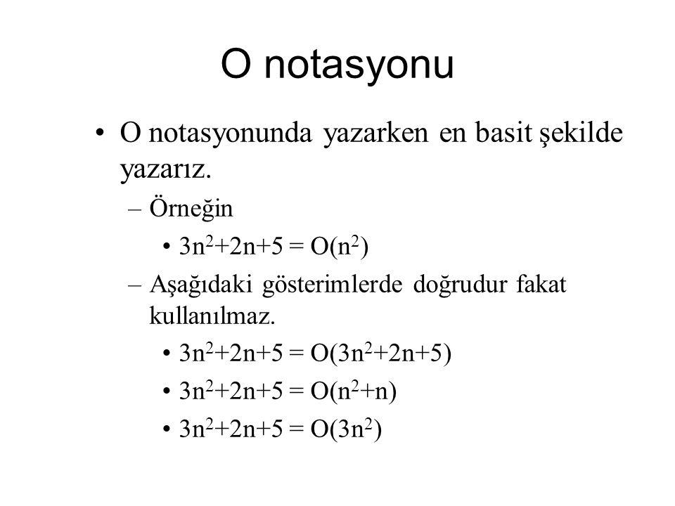 O notasyonu O notasyonunda yazarken en basit şekilde yazarız. –Örneğin 3n 2 +2n+5 = O(n 2 ) –Aşağıdaki gösterimlerde doğrudur fakat kullanılmaz. 3n 2