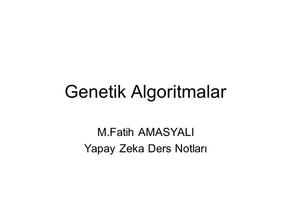 Genetik Algoritmalar Genetik algoritmalar, evrim mekanizmasına (en iyinin yaşaması) dayanır.
