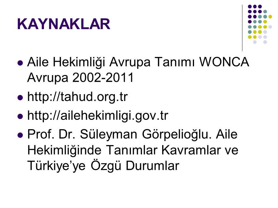 KAYNAKLAR Aile Hekimliği Avrupa Tanımı WONCA Avrupa 2002-2011 http://tahud.org.tr http://ailehekimligi.gov.tr Prof. Dr. Süleyman Görpelioğlu. Aile Hek