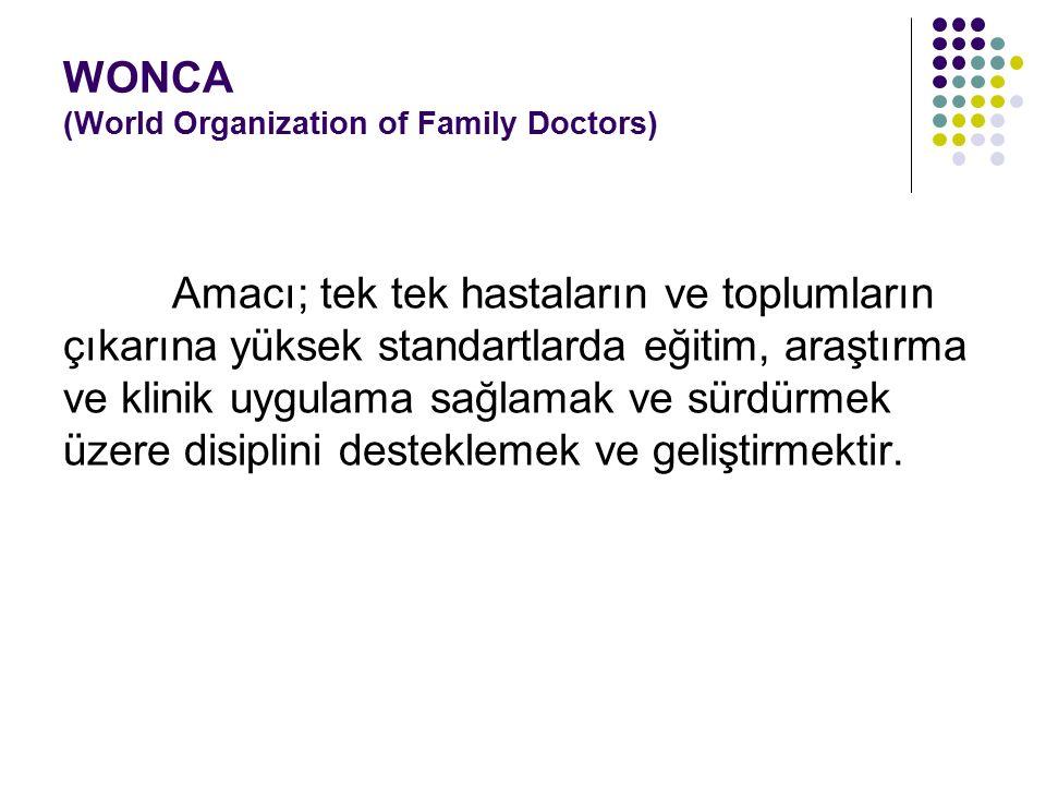 WONCA (World Organization of Family Doctors) Amacı; tek tek hastaların ve toplumların çıkarına yüksek standartlarda eğitim, araştırma ve klinik uygula
