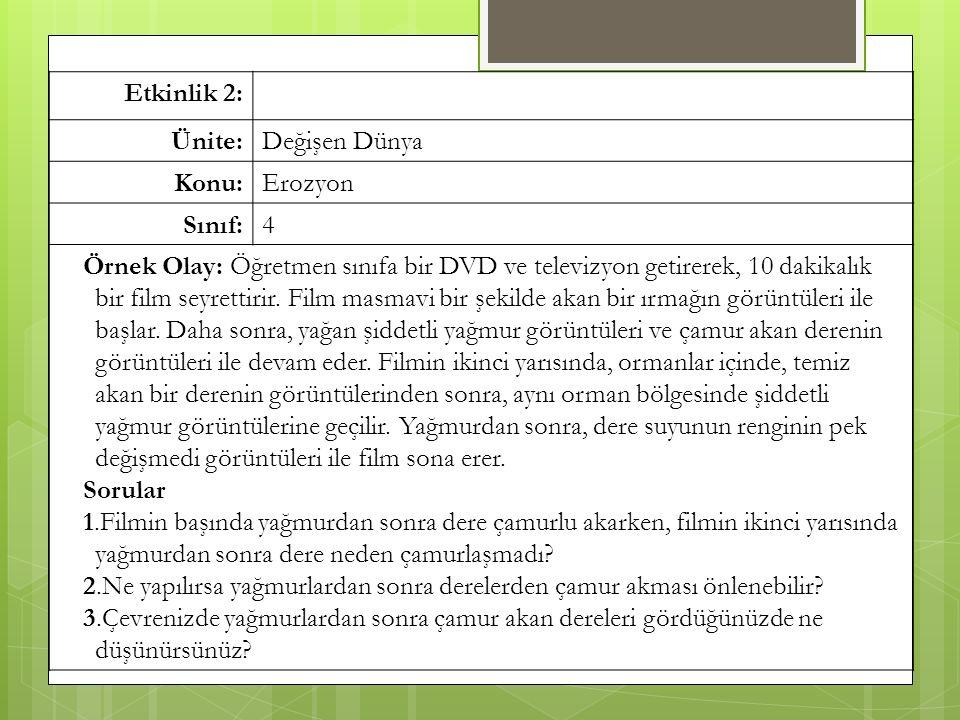Etkinlik 2: Ünite:Değişen Dünya Konu:Erozyon Sınıf:4 Örnek Olay: Öğretmen sınıfa bir DVD ve televizyon getirerek, 10 dakikalık bir film seyrettirir.