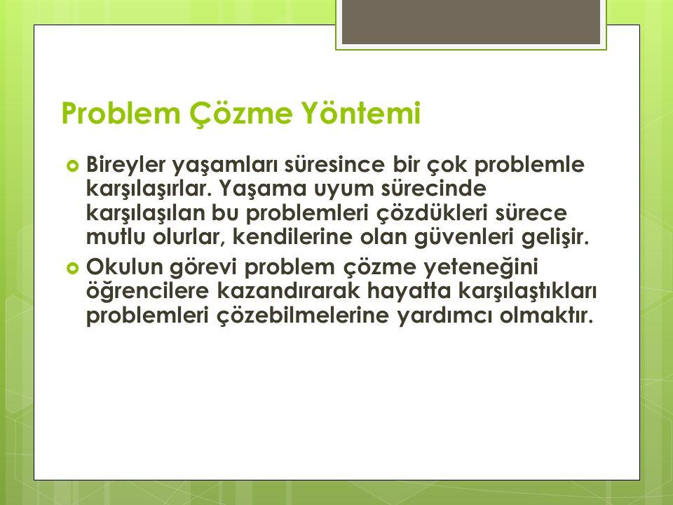 Problem Çözme Yöntemi  Bireyler yaşamları süresince bir çok problemle karşılaşırlar.