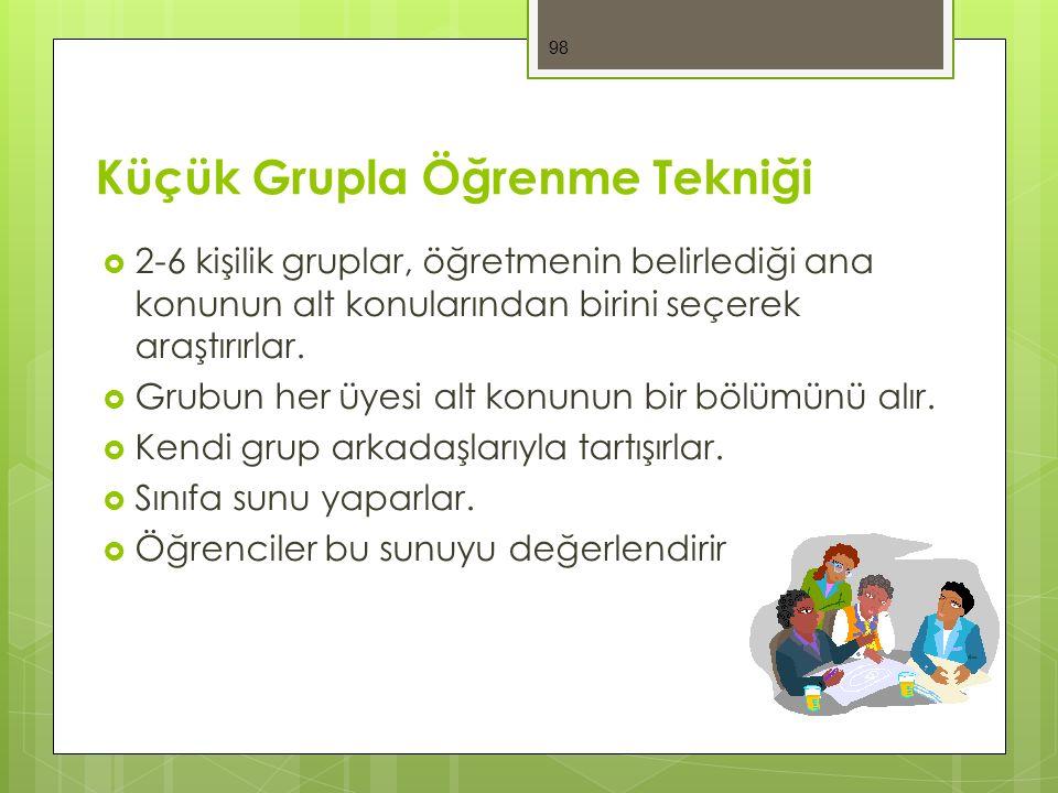 Küçük Grupla Öğrenme Tekniği  2-6 kişilik gruplar, öğretmenin belirlediği ana konunun alt konularından birini seçerek araştırırlar.