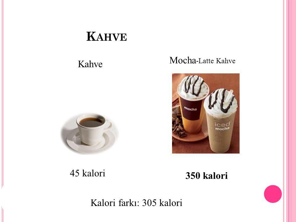K AHVE Kahve Mocha -Latte Kahve 45 kalori 350 kalori Kalori farkı: 305 kalori