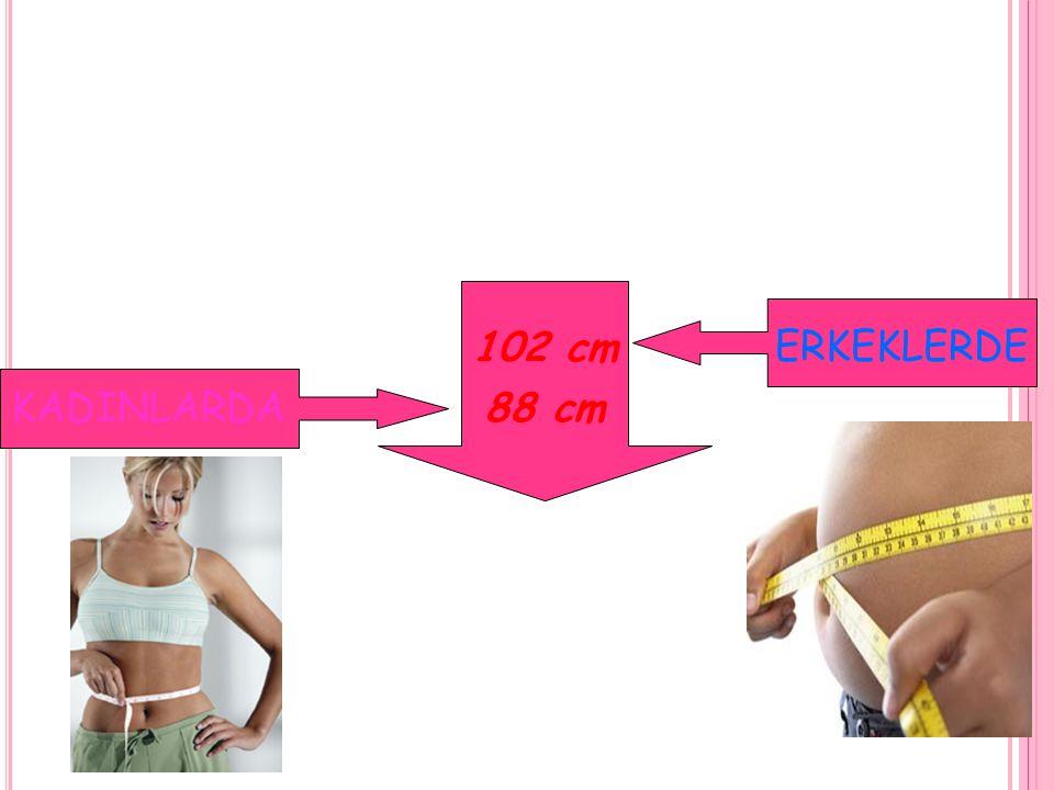 Artmış risk Yüksek risk Erkek > 94 cm > 102 cm Kadın > 80 cm > 88 cm BEL ÇEVRESİ İLE İLİŞKİLİ METABOLİK HASTALIKLAR İÇİN RİSK