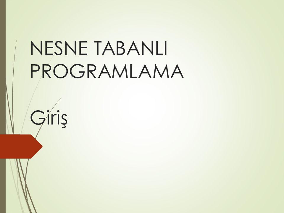 NESNE TABANLI PROGRAMLAMA Giriş
