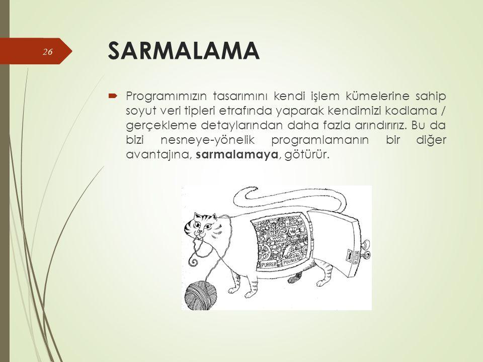 SARMALAMA  Programımızın tasarımını kendi işlem kümelerine sahip soyut veri tipleri etrafında yaparak kendimizi kodlama / gerçekleme detaylarından daha fazla arındırırız.