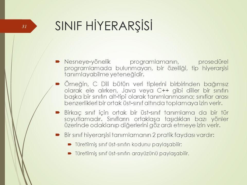 SINIF HİYERARŞİSİ  Nesneye-yönelik programlamanın, prosedürel programlamada bulunmayan, bir özelliği, tip hiyerarşisi tanımlayabilme yeteneğidir.