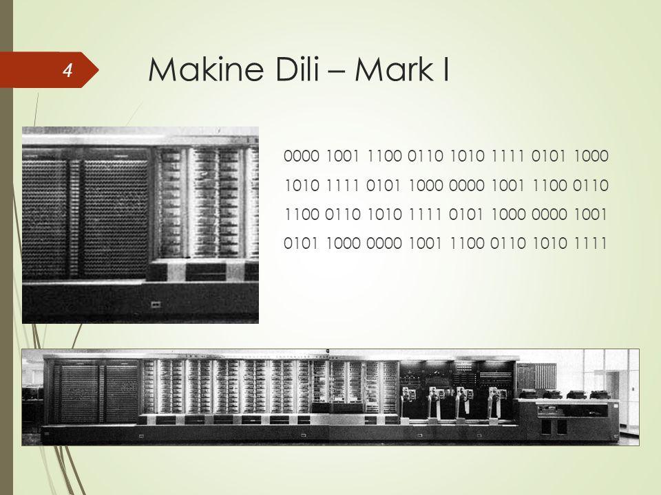 Makine Dili – Mark I 4 0000 1001 1100 0110 1010 1111 0101 1000 1010 1111 0101 1000 0000 1001 1100 0110 1100 0110 1010 1111 0101 1000 0000 1001 0101 1000 0000 1001 1100 0110 1010 1111