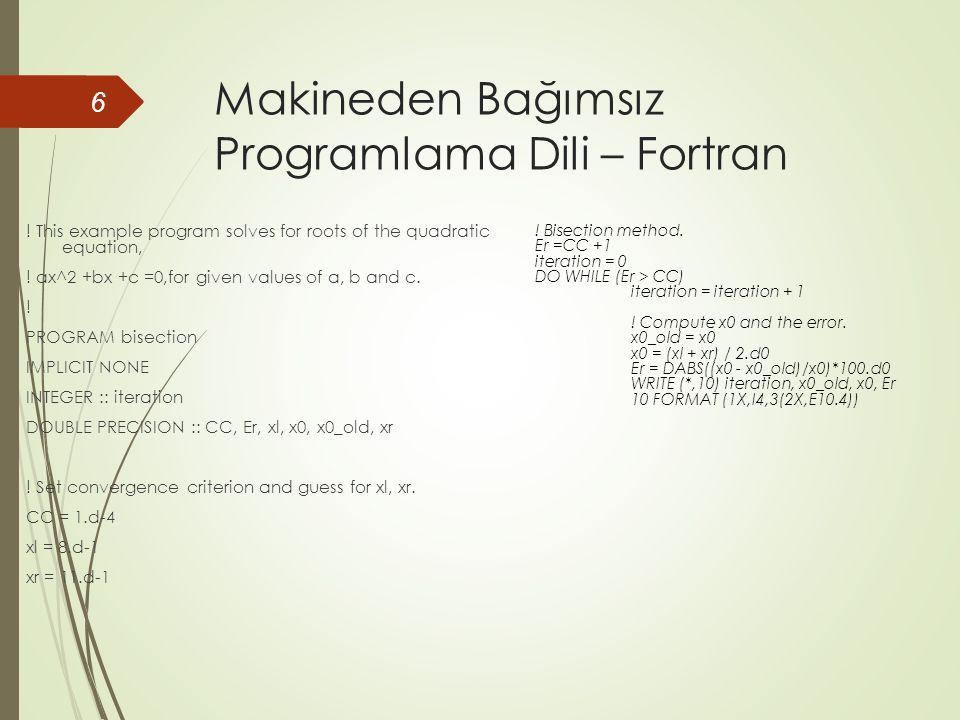 Makineden Bağımsız Programlama Dili – Fortran .